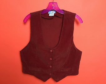 70s low  scoop cut brick red corduroy vest M