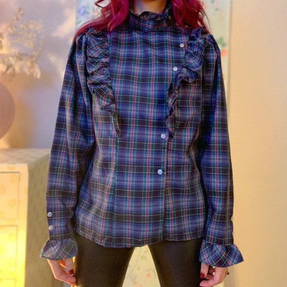 Puff sleeve ruffle plaid shirt