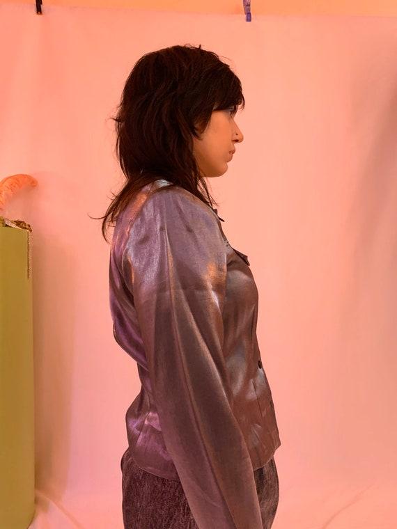 Shiny liquid shirt jacket - image 6