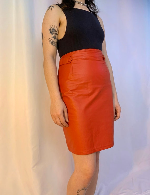 Red leather high waisted tab skirt - image 7