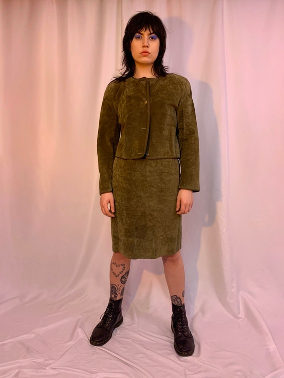 Olive green suede skirt suit