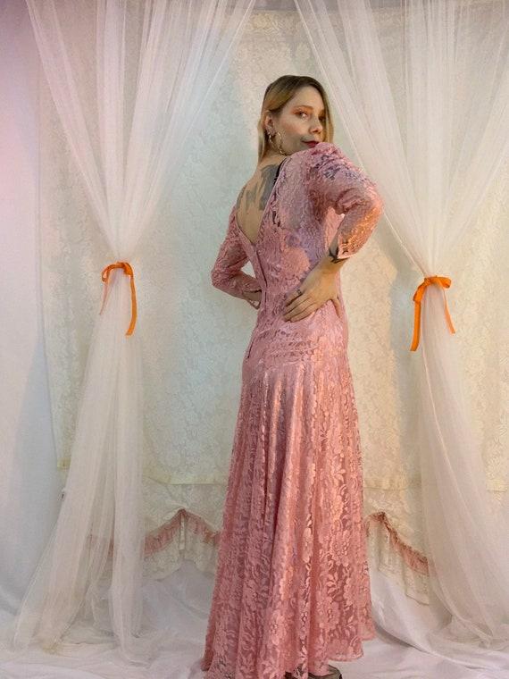 Dusty rose lace puff sleeve dress - image 7