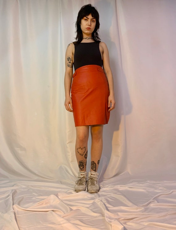 Red leather high waisted tab skirt - image 5