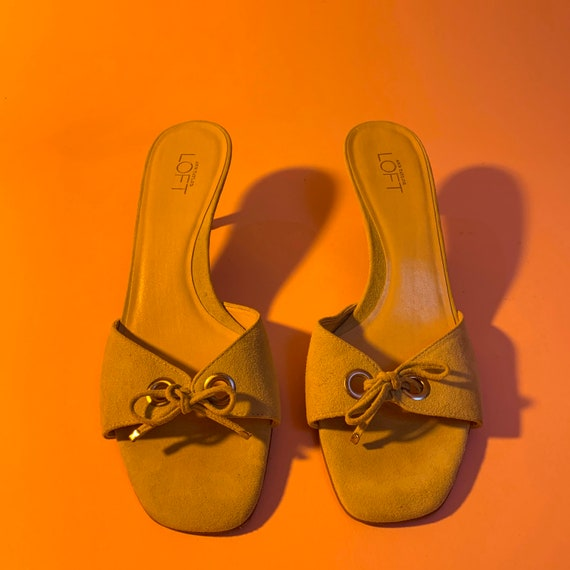 Chartreuse Lace Up Grommet Kitten Heels - image 3