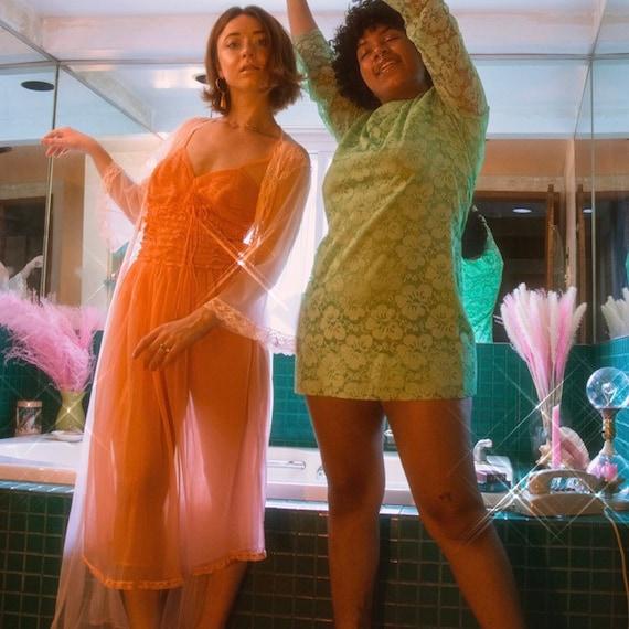 Sheer peach lace ruffle dress