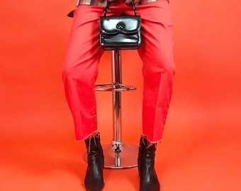 60's Orange/red super high waist crop kick pants S