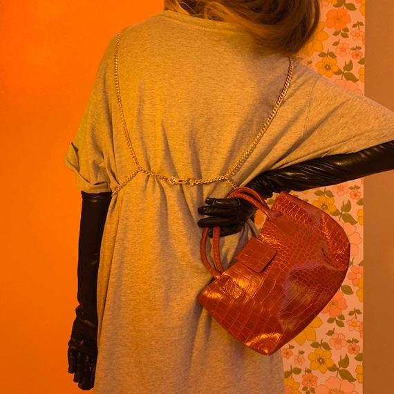 Red PVC croc mini bag