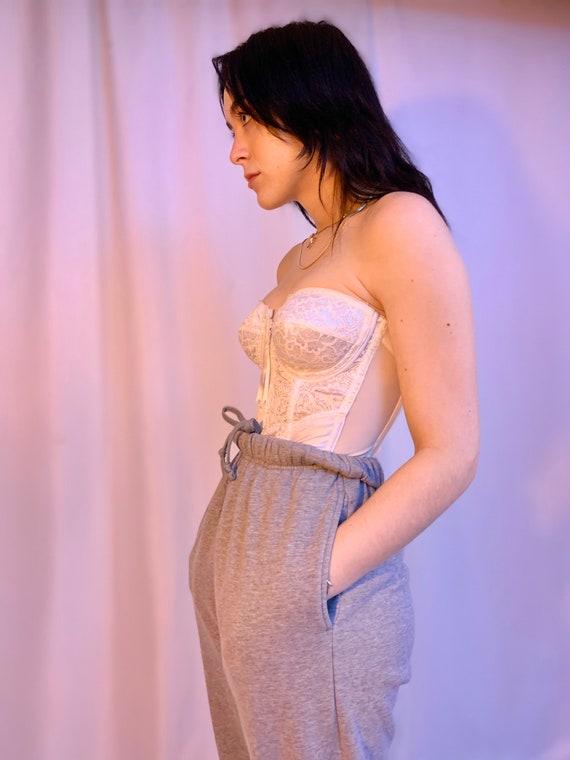 80's zipper lace & mesh garter corset - image 5