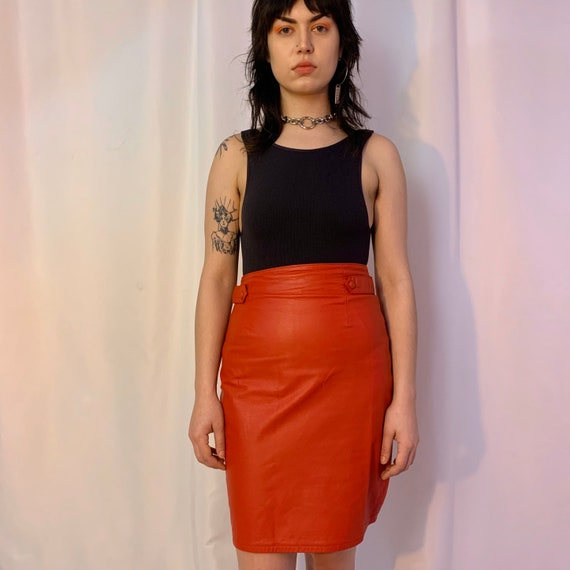 Red leather high waisted tab skirt