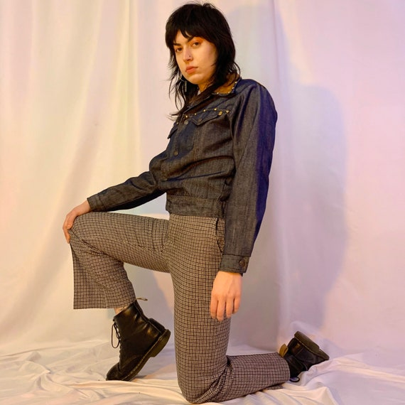 70's houndstooth plaid menswear pants
