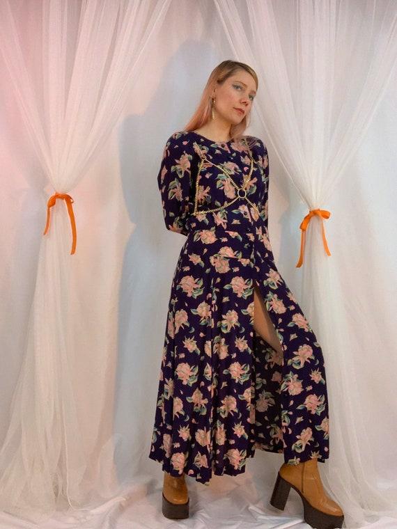Long sleeve floral yoke maxi dress