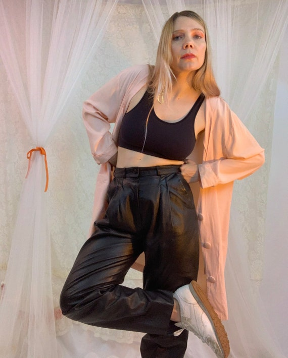 Pleated 80's leather high rise pants
