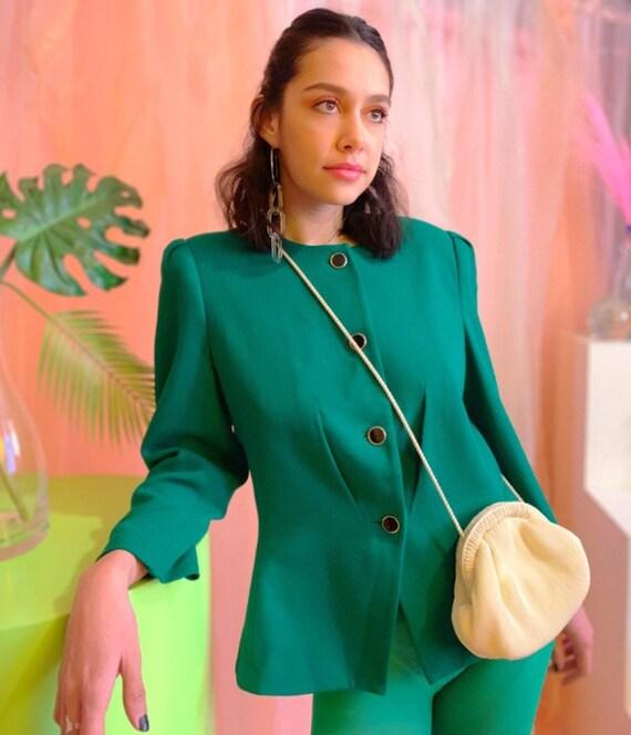 Puff sleeve kelly green blazer