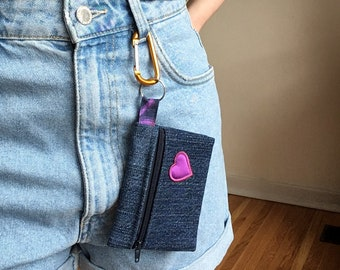 Upcycled denim, jeans, small change purse, minimalist wallet, small wallet, zipper wallet, with key ring, Fundraiser for Rainbow Railroad!