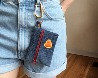 Upcycled denim, jeans, minimalist wallet, change purse, small wallet, zipper wallet, with key ring, Fundraiser for Rainbow Railroad!