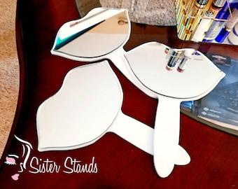 Hand-held Lip Mirror/ Lip Shape Mirror/ Vendor Mirror/ Makeup Mirror/ LipSense Stand/ Lipsense Display