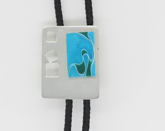 Silver Blue and Green Modern Bolo Tie