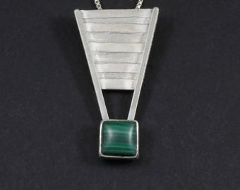 Inverted Triangle with Malachite