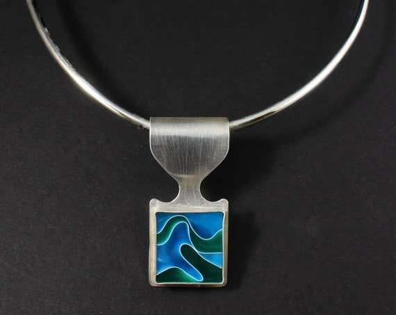 Blue Green Swirl Necklace