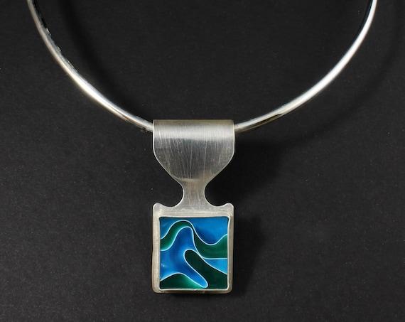 Blue Green Swirl Necklace