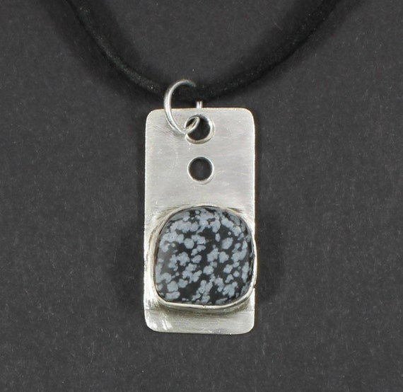 Sterling with Snowflake Obsidian Stone