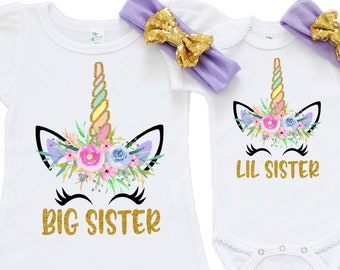 151fd8250c79 Unicorn Big Sister Little Sister Outfit, Unicorn Little Sister Outfit, Unicorn  Big Sister Shirt, Silbling Set, Big Sister Shirt, Lil Sister