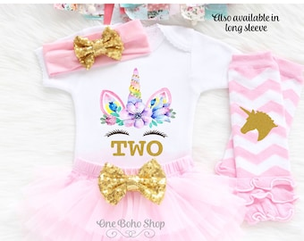 2nd Birthday Unicorn Outfit Girl Second U2LP