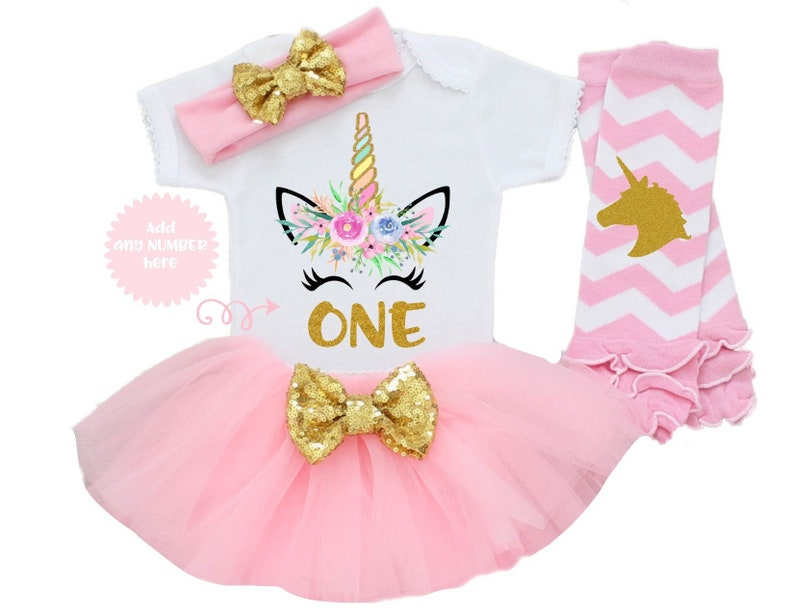 d5365fd2e9b6f Unicorn Baby Girl 1st Birthday Outfit One Year Old Gift First Bday Unicorn  Party Theme Cake Smash 12 Months Tutu Skirt Pink Gold Cumpleaños