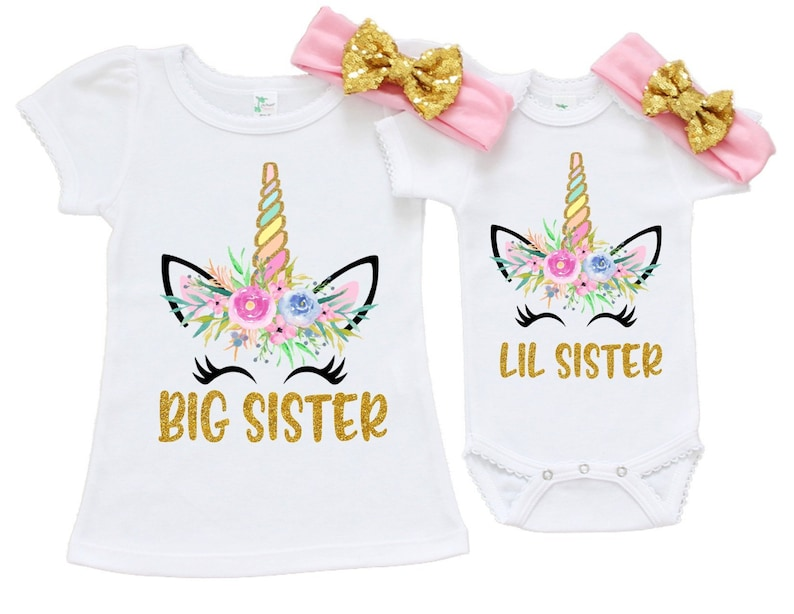 0f25a1bf8 Unicorn Big Sister Little Sister Outfit Unicorn Little Sister | Etsy