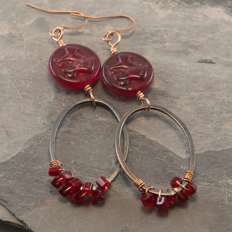 Copper Hoop /& Red Glass Bead Earrings Handmade mx272 Shipping Free U.S