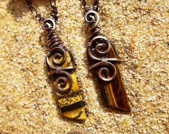 Simply Divine Tigers Eye Wire Wrapped Stone Pendant, Necklace
