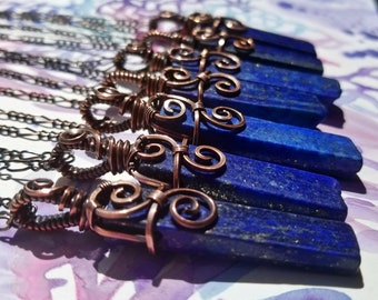 Simply Divine Lapis Lazuli Wire Wrapped Pendant, Necklace