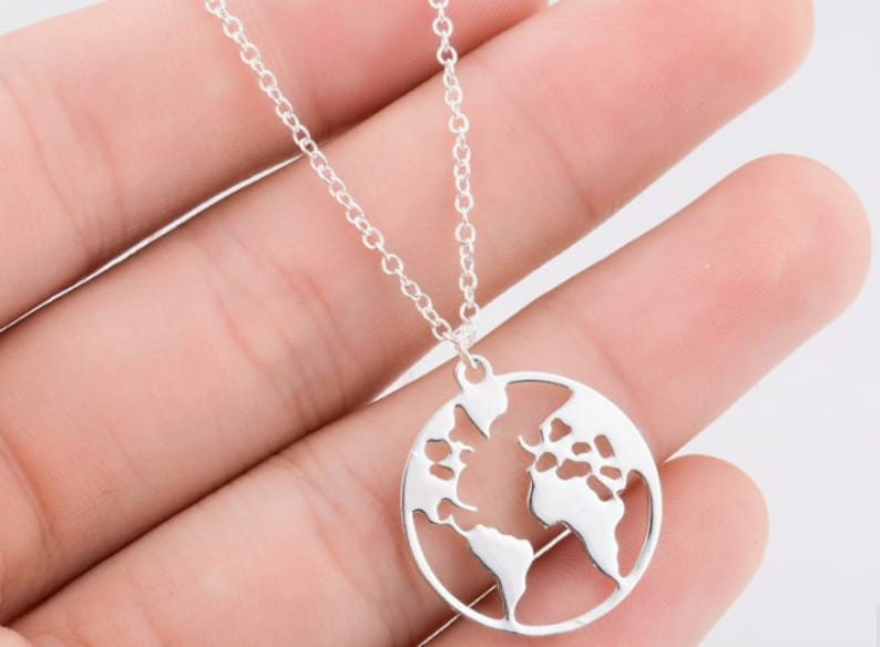 Map Pendant Necklace World Map Round Hollow Map Necklaces Layered  Personalized Fashion Traveler cute necklace cute charm necklace choker