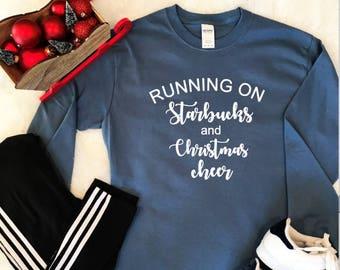 Running on Starbucks and Christmas cheer long sleeve