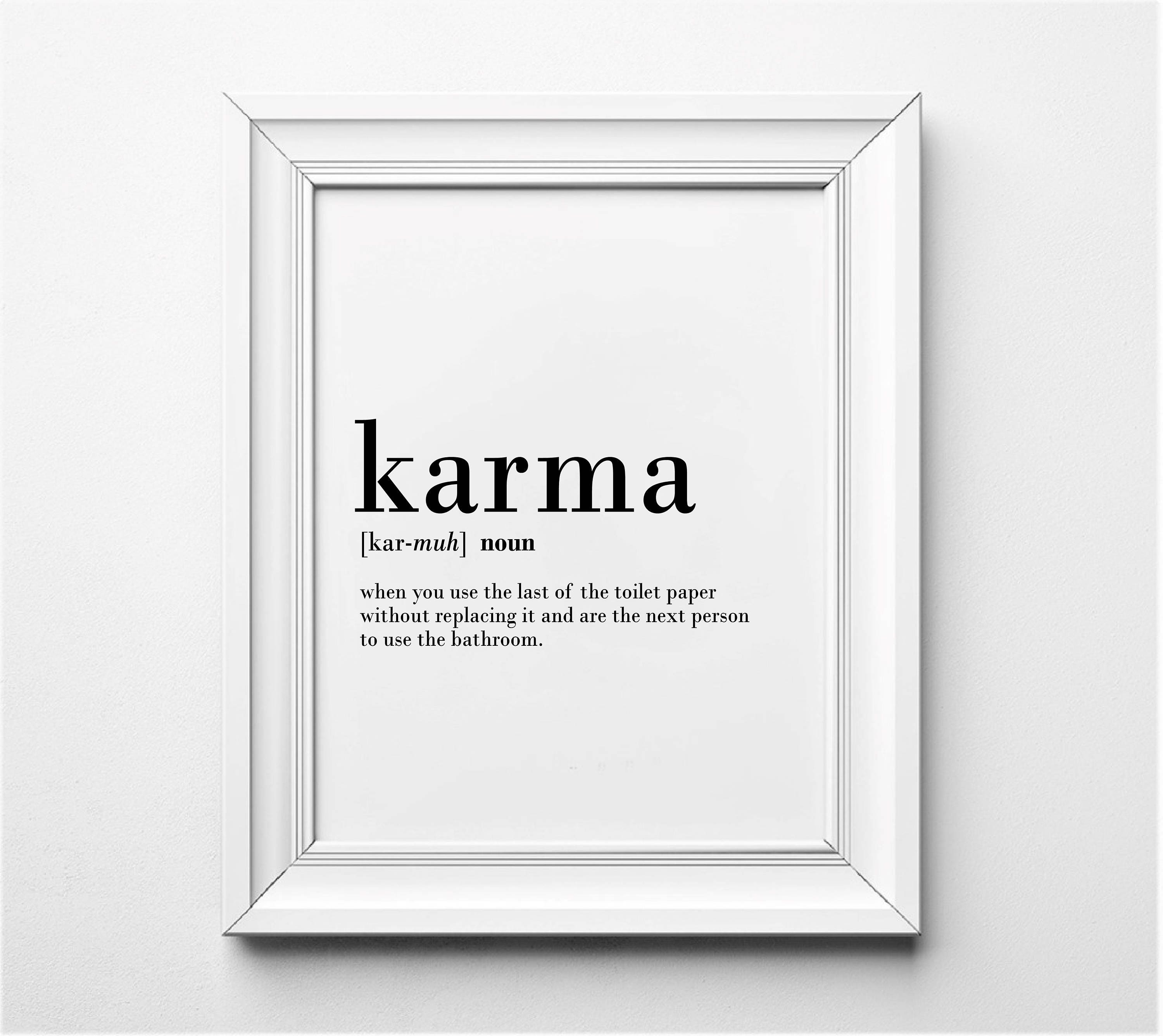karma definition bathroom wall decor funny definition | etsy