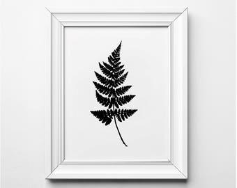 Fern Leaf Illustration, Fall Art, Fern Leaf Print, Fern Art Print, Black and White Plant Art, Printable, Minimalist Decor, Modern Art Print