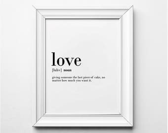 Love Definition, Love Wall Art, Love Poster, Love Word Art, Love Quote, Love Definition Art, Printable Art, Instant Download, Typography