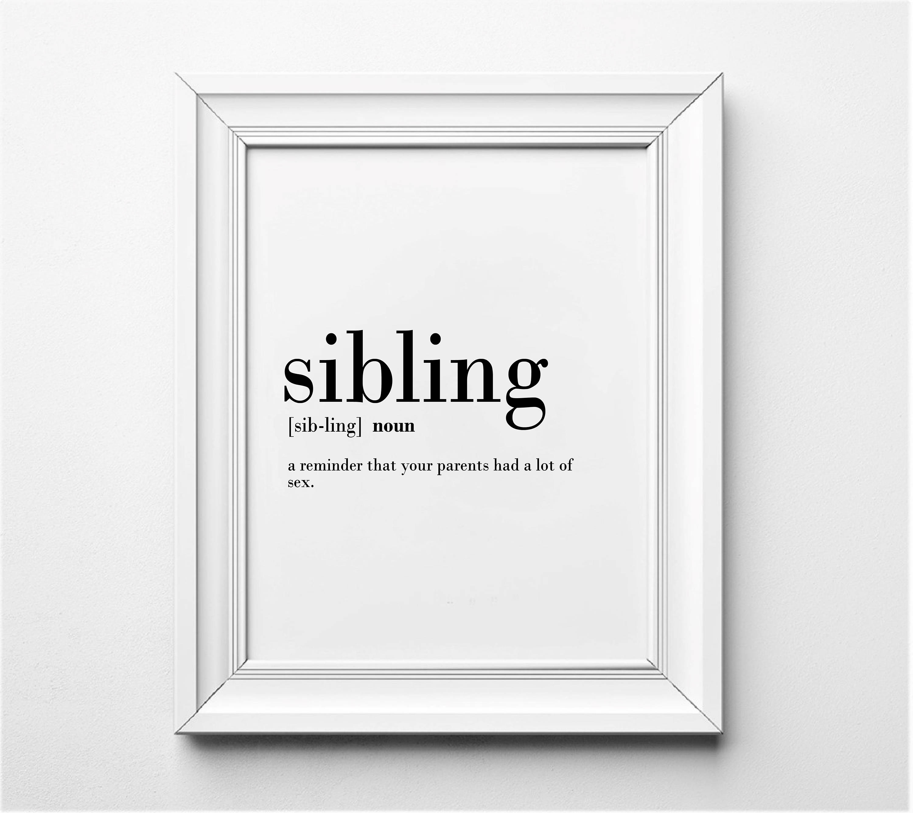 Sibling Definition Funny Sibling Gift Ideas Gifts for | Etsy