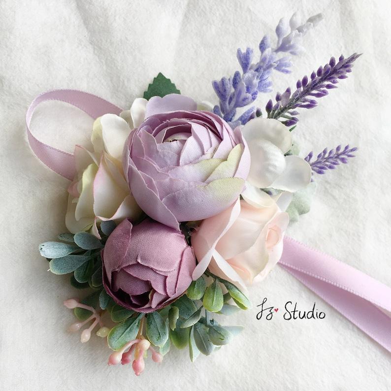 Rustic Wedding Boutonniere Silk Boutineer Wrist Corsage Set Ivory Cream Violet Lilac Green Buttonholes Fake Ranunculus Camellia Lapel Flower