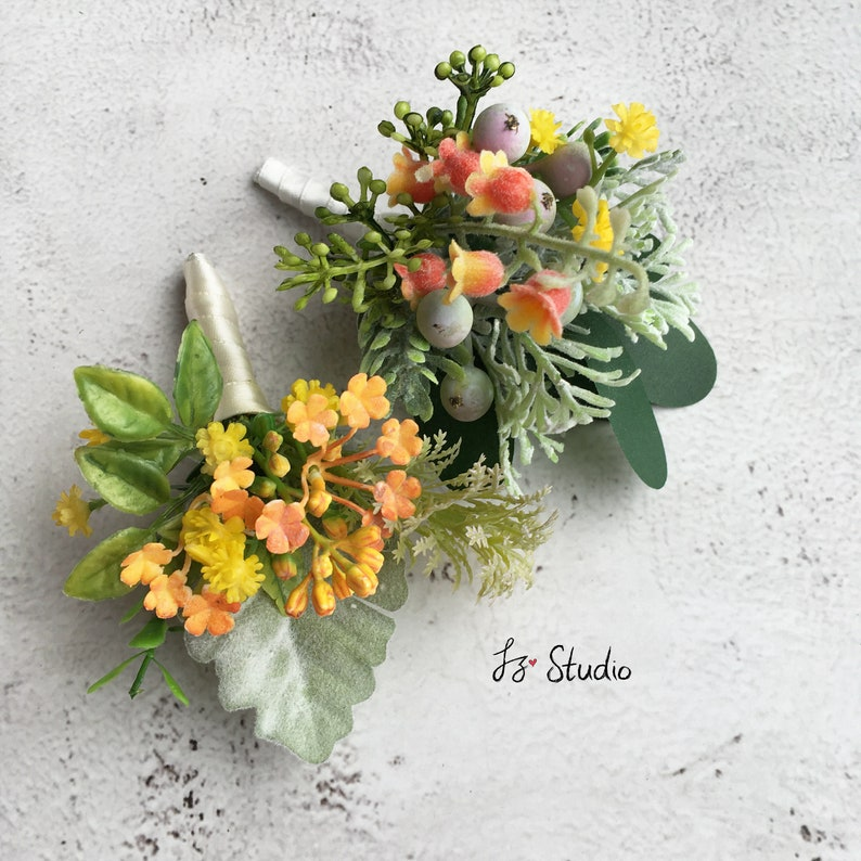 Orange Green Silk Boutonniere Wrist Corsage Wedding Boutineer Classic Fake Flowers Wristlet Buttonhole Rose Ranunculus Eucalyptus Hops Fern