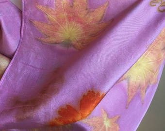 One of a kind cochineal ecoprinted silk habotai scarf (S30)