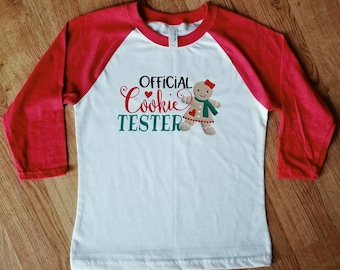 Official Cookie Tester   Cookie Tester Shirt   Kids Christmas Raglan   Kids Christmas Shirt   Official Cookie Tester Shirt   Shirts for Kids