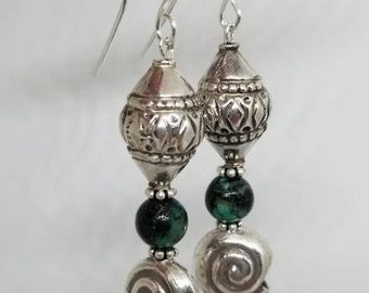 African Turquoise earrings/Sterling Silver earrings/Moroccan style jewelry/ Bohemian jewelry/ethnic jewelry/Gift for her/turquoise earrings