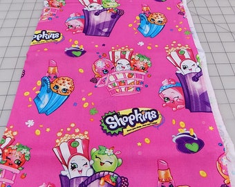Shopkins Fabric, Shopkins Bag of Fun, Bags, Shopkins Cartoon, Moose, Springs Creative, Licensed, Pink, Cotton, Woven, Fabric by the Yard