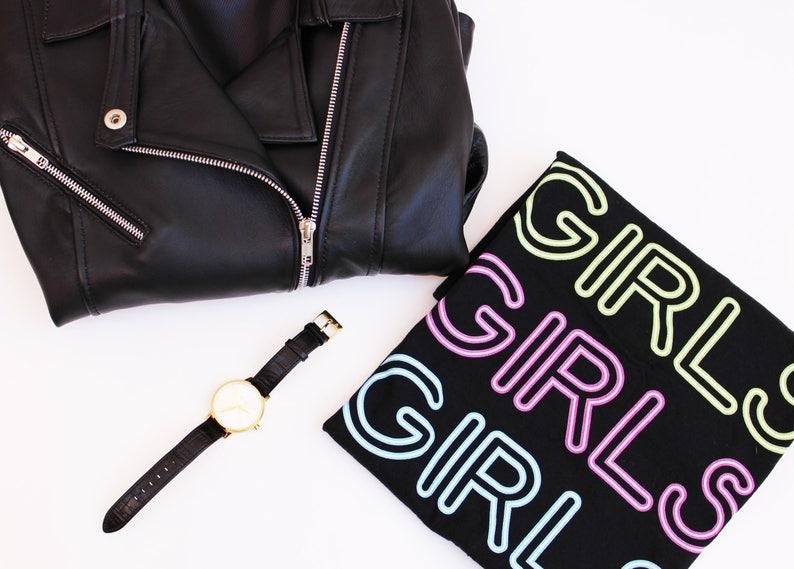 Girls Neon T shirt Girls Girls Girls T Shirts Graphic Tee image 0