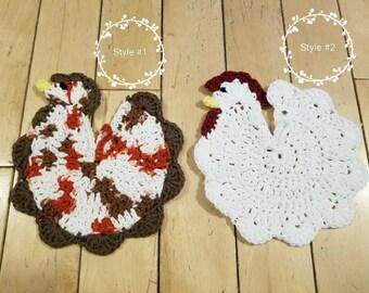 Crocheted Chicken Pot Holders