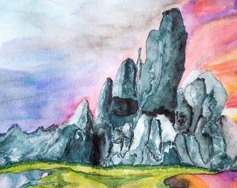 Rocks Original Watercolor Painting Artwork by AliiArtColors