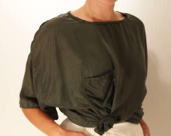 Vintage Olive Green Silk Box Pocket Tee, Light as Air, by Carol Lee Shanks / M / L / XL