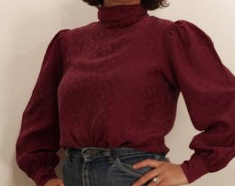 Vintage 1980s Saks Fifth Avenue Plum Silk Puff Sleeve Turtleneck Blouse | S - M