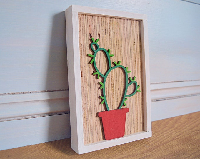 Rustic prickly pear cactus sign - Succulent sign - Cactus wall sign - Cute wood sign -  Gallery wall sign -  Framed wood sign